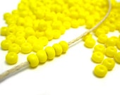 Yellow Seed Beads, Rocaille Glass Seed Beads, Size 6/0 4mm, 1oz