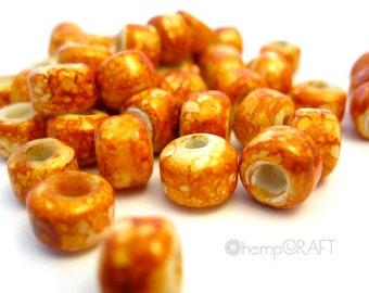 Glass Crow Beads, Orange Pony Beads - 50pcs - 9mm