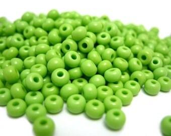 Seed Beads, Light Green Glass Sead Beads, Size 6/0 4mm, 1oz (G3)