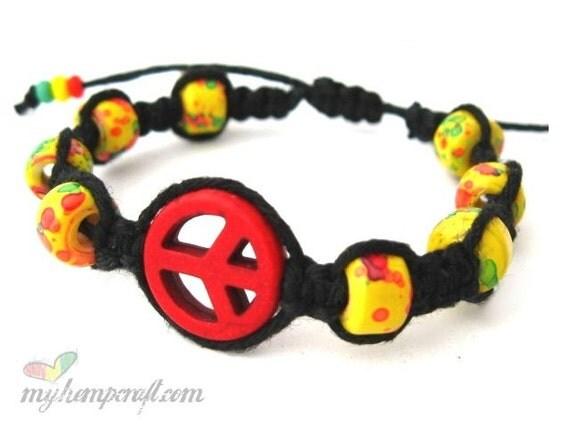 Hemp Bracelet, Peace Sign - Rasta with Red Magnesite Peace Sign