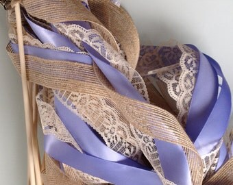 Wedding Wands: Set of 50 Triple Ribbon Lace and Burlap Jute Ribbon Bells Streamers Birthday Party Gold Silver