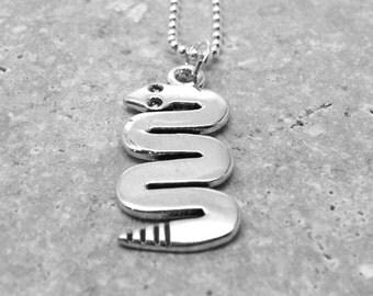 Sterling Silver Snake Necklace, Snake Jewelry, Charm Necklace, Snake Pendant, Sterling Silver Jewelry
