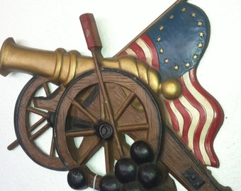 1960s American Cannon & Flag Metal Sign