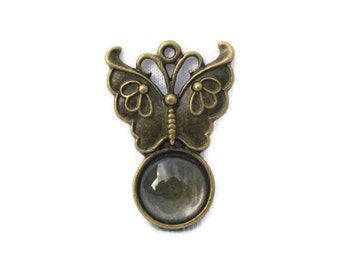 Bezel Cabochon Setting Tray Pendant Small Butterfly With Clear Glass Cabochon D67