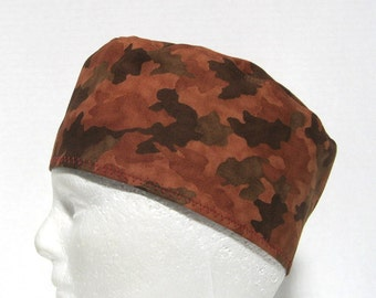 Mens Scrub Hat, Surgical Cap or Skull Cap Brown Camouflage