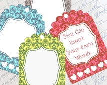 WEDDING and SHOWER TAGS  atc  aceo Digital Cards 327  Instant download- jewellery holders, scrapbooking  cards, Victorian