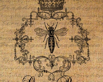 Queen Bee Crown Ornate Frame Digital Image Download Transfer To Pillows Tote Tea Towels Burlap No. 4316