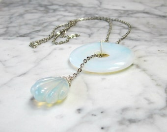 Opalite Sea Opal and Silver Chain Chakra Balancing and Healing Lariat Necklace