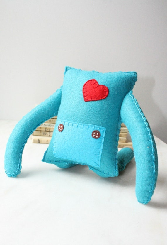 Stuffed Felt Plush Robot Doll Toy, Blue Teal Soft Toy, Stuffed Plush Doll