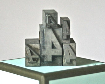Antique Number 4 Letterpress Type for Printing Stamping Collage