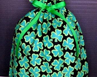 Shamrocks on Black Large Fabric Gift Bag - Irish, Ireland, Clover, Clovers, Green, St. Patrick's Day