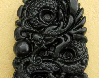 Natural Stone Carved Super Powerful Dragon Amulet Talisman Pendant Bead For Jewelry 46mm x 26mm  TH010
