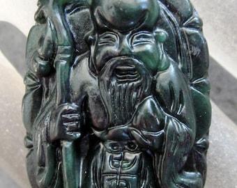 Natural Stone Longevity God Long Life Amulet Pendant 35mm x 25mm  TH134