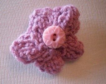 Mini Flower Brooch, Pink Flower Pink, Knitted Brooch - Profits go to charity