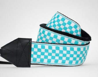 Teal Camera Strap - Gifts for Her - SLR Camera Strap - Photographer Gift - Birthday Gift - Bright Blue Checker