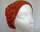 Slouchy Beret Orange Burnt Umber Rust Copper Slouchy Beret Hat With Rose Flower