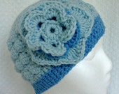 Blue Cluster Textured Beanie Hat Baby Blue Cluster Textured Beanie Hat With Flower