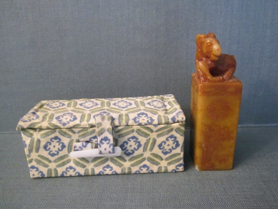 Soapstone ram stamp in box hand carved chinese chop or seal