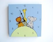 Children's clock- zoo animals blue and green elephant, lion and giraffe ,Hand painted on canvas- nursery clock