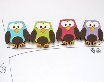 Magnets- Set of 4 wooden magnets-colorful owls -funny magnets for children/teens/adults/ hostess gift
