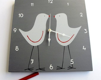 Clock - Two grey and red love birds - Grey clock for nursery/ kids room/ kitchen clock - Hand painted on canvas, valentine's gift