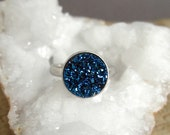 Blue Druzy Ring, Drusy Ring, Gemstone Ring, Druzy Quartz Jewelry, Sterling Silver Adjustable Band