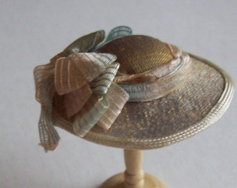 Handmade 1/12 scale dollshouse miniature narrow brim gold/blue silk hat