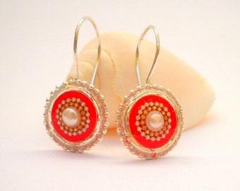 Red Pearl earrings Sterling silver earrings pearl silver earrings red earrings short hooks earrings Mom gifts sister gifts round earrings