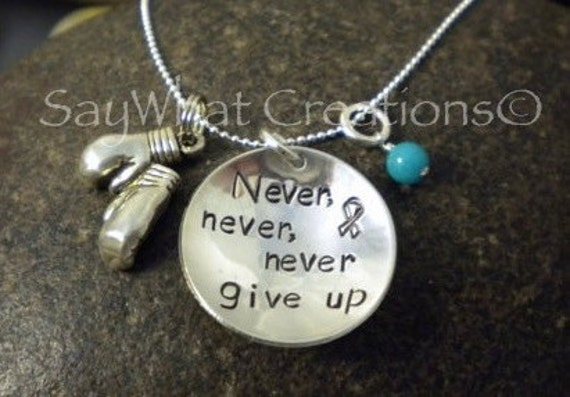 Custom Hand Stamped Never Give Up Ovarian Cancer Necklace Sterling Silver with Boxing Gloves