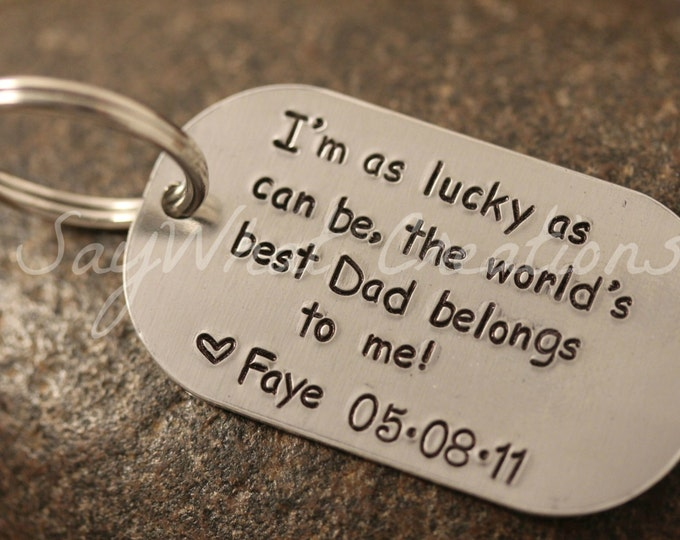 Custom Hand Stamped Personalized Dog Tag Rectangle Key Chain  Great gift for dads