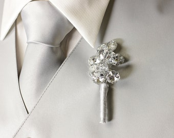 Boutonniere - Silver Mirrored Boutonniere - Grooms Boutonniere - Silver Boutonniere - Wedding Boutonniere - Prom Boutonniere