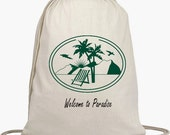 10 Wedding Welcome Backpacks - Drawstring Bags - Favors - Beach Bags - Natural Cotton Bag - Personalize NO EXTRA