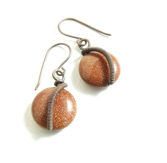 Brown copper earrings, dangle earrings, glittery goldstone rustic copper jewelry
