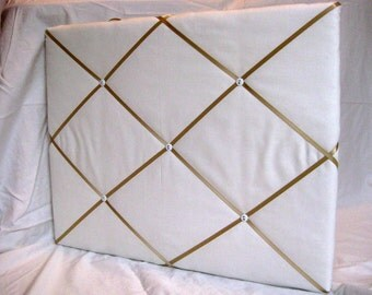 White/cream and tan/gold ribbon Memory Board French Memo Board
