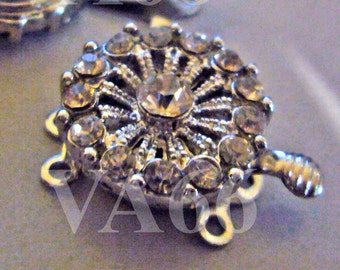 2p Rhinestone 3-strand 18K White Gold Plated Clasps Findings L17 for Jewelry Making Supplies