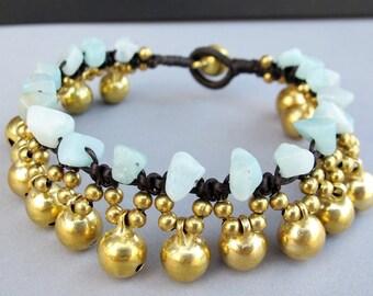 Round Brass Bell and Amazonite chip Stone Bracelet