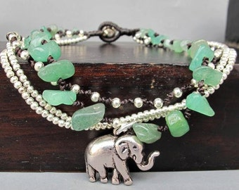 Multi Strand Elephant Charm Aventurine and Silver Colour Bead Ankle Bracelet