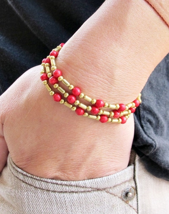 Boho Multi Strand Bracelet with Brass Bead and Red Coral Bead