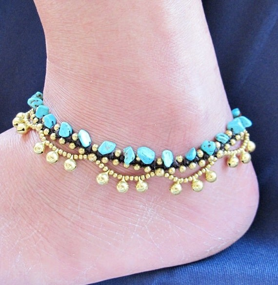 Boho Anklet Little Cascade Brass Bell with Turquoise