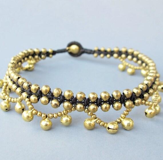 Brass Bead Ring Ring Ankle Bracelet