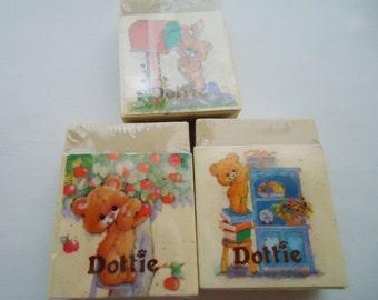 Three Flomo Super Cute Erasers Blocks.80s.Dottie