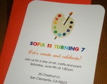 Art Party : Birthday invitations - Set of 12