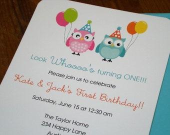 Twin Owl : Invitations, boy and girl birthday - Set of 12
