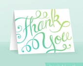 Hand Lettered Thank You Card -Teal Ombre PDF