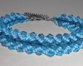 "Aquamarine  Flat Spiral Bracelet  ( ""Something  Blue"" on that special day.... )"