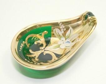 Bohemian Czech Moser Enamel & Gold Emerald Green Leaf Shaped Art Glass,  Emerald Green Glass Ring Keeper