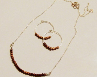 Copper and Sterling Silver Necklace and Hoop Earring Set