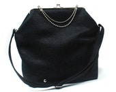 Big Fold Clutch Bag - Black - Nickel - woman bag, removable strap, Duchess Case collection