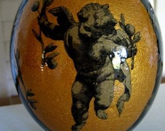 EMU EGG Australian Decoupage Art CUPIDS theme Black and Gold Highly polished