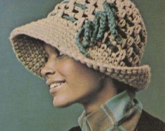Vintage Crochet Hat Pattern, Large Brim, 1970's INSTANT DOWNLOAD
